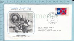 Art Work Envelope Cachet, Enveloppe Artistique, - Dean Ellis , GEORGIA Flag, Commemorative, Cover Atlanta 1978 - Drapeaux