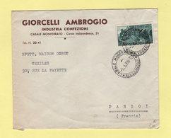 Italie - Casale Monferrato - 1956 - Destination France - 6. 1946-.. Repubblica