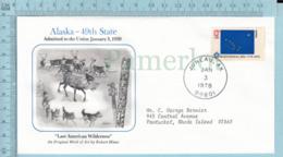 Art Work Envelope Cachet, Enveloppe Artistique, - R. Hinses , ALASKA Flag, Commemorative, CoverJuneau 1978 - Drapeaux