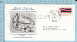 Art Work Envelope Cachet, Enveloppe Artistique, - P. Rabut , HAWAII Flag, Commemorative, Cover Honolulu 1977 - Drapeaux