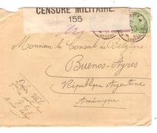 JS561/ TP 137-138(2) S/L.c.PMB-BLP 4 2/8/1918 Cie De Construction Z 5 Armée Belge Censure Militaire 155 V.Argentine - Army: Belgium