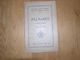 PALMARES D' Honneur Et D' Excellence  ANNEE 1928 1929 COLLEGE SAINT VINCENT à SOIGNIES Ecole Prix Résultats - Diploma & School Reports