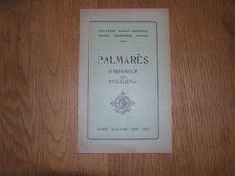 PALMARES D' Honneur Et D' Excellence  ANNEE 1929 1930 COLLEGE SAINT VINCENT à SOIGNIES Ecole Prix Résultats - Diploma & School Reports