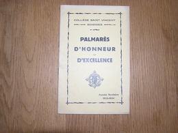 PALMARES D' Honneur Et D' Excellence  ANNEE 1933 1934 COLLEGE SAINT VINCENT à SOIGNIES Ecole Prix Résultats - Diploma & School Reports