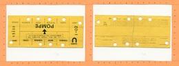 Ticket Titre De Transport Métro / RATP / Station POMPE / Paris - Abonnements Hebdomadaires & Mensuels