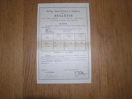 BULLETIN ANNEE 1928 1929 3 ème Trimestre Classe Rhétorique COLLEGE SAINT VINCENT à SOIGNIES Ecole Résultats Points - Diplômes & Bulletins Scolaires