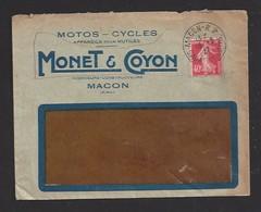 Timbres Sur Lettre 1927  -  Envoyé Par Monet Et Coyon   Motos Cycles  à  Macon  (71) - 1921-1960: Période Moderne