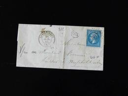 LETTRE DE LONDINIERES POUR NEUFCHATEL EN BRAY  -  1865  - - Storia Postale