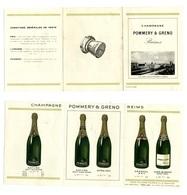 Dépliant Champagne POMMERY & GRENO / Fin Des Années 20 - Autres Collections
