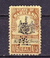 Taxmarke, Alkohol, Maryland, Perfin, USA (60062) - Gebührenstempel, Impoststempel