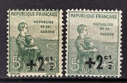 FRANCE 1922 / 1926 -  Y.T. N° 163 X 2 NUANCES - NEUFS** - France