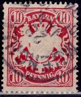 Germany - Bavaria, 1876-78, Coat Of Arms, 10pf, Sc#41, Used - Bavaria