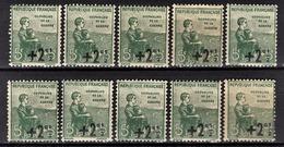 FRANCE 1922 / 1926 - LOT 10 TP  NEUFS** / Y.T. N° 163  - - France