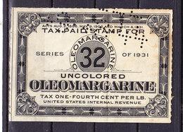 Taxmarke, Oleomargarine, Perfin, USA (60068) - Gebührenstempel, Impoststempel