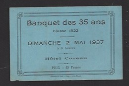 Faire Part Pour Le Banquet Des 35 Ans - Classe 1922 - Le Dimanche 2/05/1937 - Hôtel Cureau à Chateau Du Loir ?...(72) - Faire-part