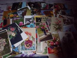 LOT DE 165 CARTES FLEURS...FANTAISIES..ILLUSTRATIONS...IMAGES...PHOTOS - Postcards