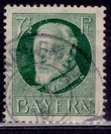 Germany - Bavaria 1914-20, King Ludwig III, 7 1/2pf, Sc#97, Used - Beieren