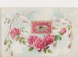 Timbre Réunion Sur Jolie Carte Fantaisie Gaufrée  ( Roses Et Colombes ) - Réunion (1852-1975)