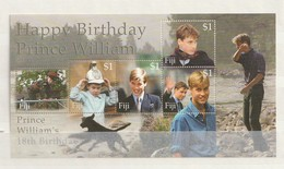Fiji - 2000 The 18th Anniversary Of The Birth Of Prince William 5v M/s Mint - Fiji (1970-...)