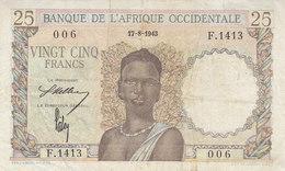 25 F AOF AFRIQUE OCCIDENTALE FRANÇAISE 17-8-1943 REF P.38 Ou K.185 - États D'Afrique De L'Ouest