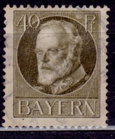 Germany - Bavaria 1914-20, King Ludwig III, 40pf, Sc#105, Used - Beieren