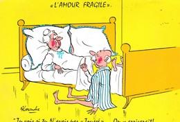 """CARTE FANTAISIE  ILLUSTRATION SIGNÉE ALEXANDRE.  """"  L'AMOUR FRAGILE."""" - Alexandre"""