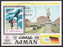 Ajman Bf. 247B XX Olympic Games Monaco Salto Asta Castle Nymphenburg Sheet Imperf. CTO - Jumping