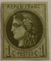 FRANCE Cérès De Bordeaux 1c N°39Aa Report 1 Olive Neuf Sans Gomme Non Aminci, Marges OK - 1870 Emission De Bordeaux