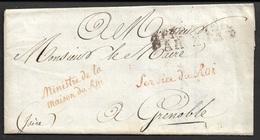 1818 LAC Maison Du Roi - Marques Franchise - Bureaux Special - Vers Grenoble - Postmark Collection (Covers)
