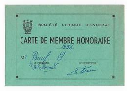 63  - ENNEZAT - Carte Membre De La Société Lyrique - 1956 - Maps
