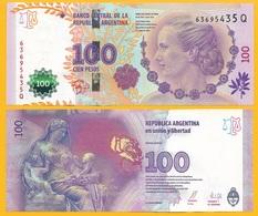 Argentina 100 Pesos P-358b 2014 (Series Q) UNC - Argentine