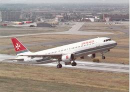 Avion Airbus A320  Au Decollage De...  En Fonds Avion Concorde  Air Malta  - CPM  12,5x17,5 TBE Neuve - 1946-....: Moderne