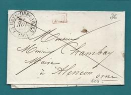 Indre Et Loire - La Haye Descartes Pour Alencon. CàD Type 13 + PP Rouge. Indice 7 - Marcophilie (Lettres)