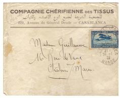 Lettre Commerciale Maroc Vers France 1922. Timbre Pour Poste Aérienne N° 4. Jolie Cote. Cachets Maroc Et France - Lettres & Documents