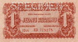 CECOSLOVACCHIA 1 KORUNU 1944 P-45s UNC SPECIMEN - Tchécoslovaquie