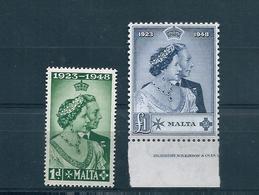 MALTA 1949 NOZZE D'ARGENTO SERIE COMPLETA NUOVA SENZA LINGUELLA - Malta