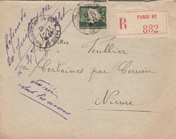 LSC 1942 - Recommandé Et Cachet PARIS 82 Sur YT 523 Seul Sur Lettre  - Au Dos Cachet CERVON (Nièvre) - Postmark Collection (Covers)