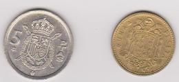 1975 Spagna - 1pta, 5pta (circolate) Fronte E Retro - [ 5] 1949-… : Regno