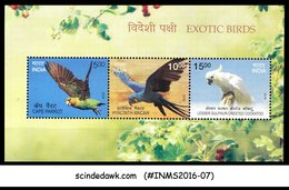 INDIA - 2016 EXOTIC BIRDS CAPE PARROT, COCKATOO, HYACINTH MACAW M/S MNH - Birds