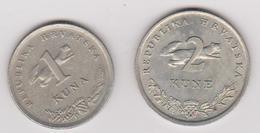 1993 Croazia - 1 E 2 Kune (circolate) Fronte E Retro - Croazia