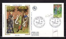 """"""" GASTON FEBUS """"  Sur Enveloppe 1er Jour DOUBLEMENT SIGNEE De 1991. N° YT 2708 Parfait état. FDC - Sonstige"""