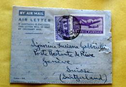 INDIA 1953 AEROGRAMMA + 1 VALORE VIAGGIATO - Storia Postale