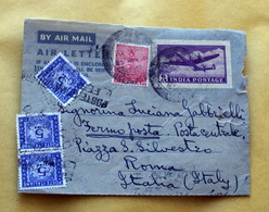 INDIA 1953 AEROGRAMMA + 1 VALORE E TRE SEGNATASSE VIAGGIATO - Storia Postale