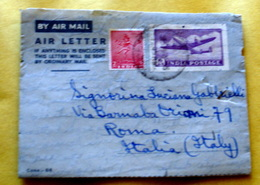 INDIA 1953 DUE AEROGRAMMI + 1 VALORE  VIAGGIATI - Storia Postale