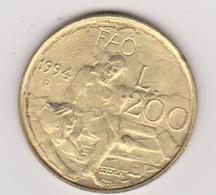 1994 San Marino - 200 L. (circolate) Fronte E Retro - San Marino