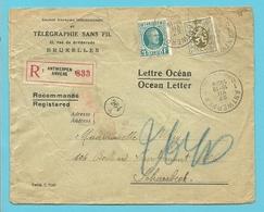 208+280  Op LETTRE OCEAN / OCEAN LETTER Aangetekend Stempel ANTWERPEN - 1922-1927 Houyoux