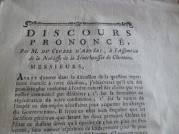 Discours Par C. D'Arnéri Assemblée De La Noblesse De Clermont Ferrand 15p Impositions - Historical Documents