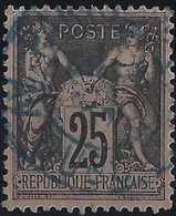 1876 Sage N°97 Obl 25c Noir Sur Rose N/U Oblitéré Dateur Paris En Bleu - 1876-1898 Sage (Type II)