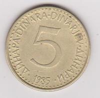 1985 Jugoslavia - 5 Dinara. (circolate) Fronte E Retro - Jugoslavia