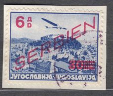 Germany Occupation Of Serbia - Serbien 1941 Airmail Mi#28 Used On Piece - Bezetting 1938-45